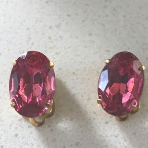 Pink Faceted Sapphire Gripoix Rhinestone Earrings